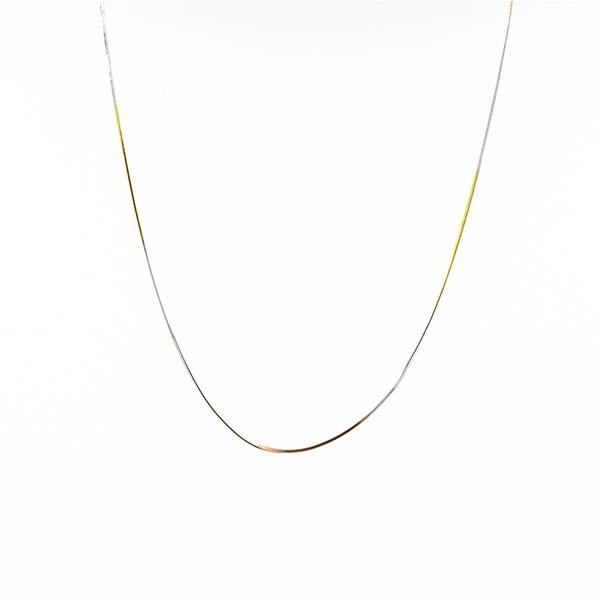 Chaîne Longue en mailles Serpent - Plaqué or blanc, jaune et rose