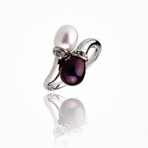Two loves together- Cultured pearl ring - 925 Silver