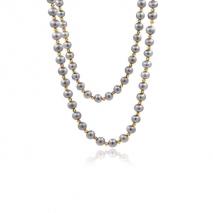 Miroirs d'Orient - Long collier 110 cm - Perles grises du Yangzi