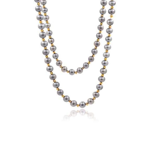 Miroirs d'Orient - Collier 110 cm - Perles grises du Yangzi